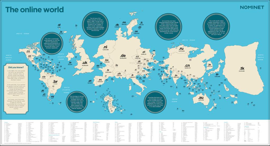 Weltkarte nach Maßstab der Top Level Domains